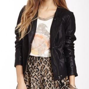 FREE PEOPLE Vegan Leather and Lace Moto Jacket, 4